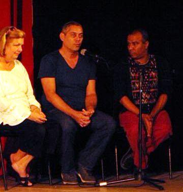 Mirta Beltrán Camejo, Norge Espinosa y Rubén Darío Salazar el 18 de noviembre de 2012. Foto cortesía de Galería El Retablo.